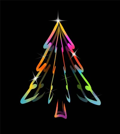 Illustration for Colored beautiful Christmas tree. Merry Christmas! Vector illustration - Royalty Free Image