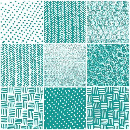 Illustration pour Seamless patchwork pattern. Black geometric lines on blue watercolor background. Vector illustration. Handmade. - image libre de droit