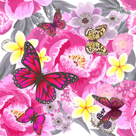 Illustration pour A seamless background with beautiful pink and blue flowers. Vector illustration - image libre de droit