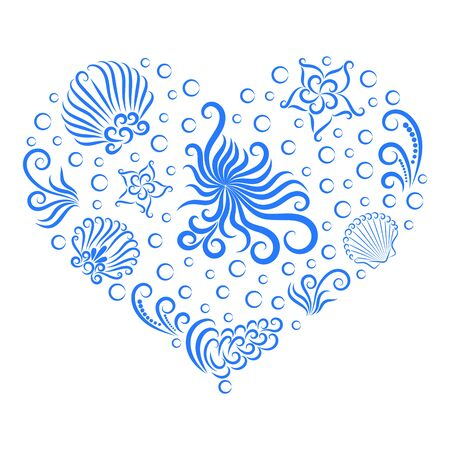 Illustration for Sea decoration in the shape of a heart. Undersea world: octopus, shell, seaweed, bubble and starfish. Drawn by a line. - Royalty Free Image