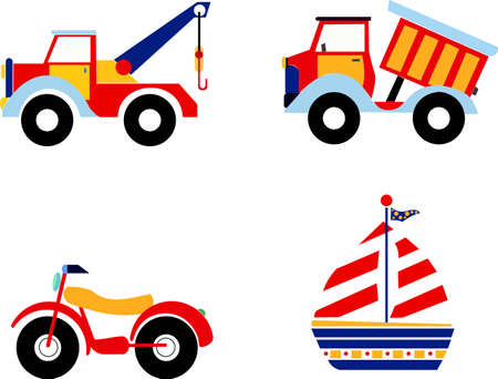 Vector illustration of toys, excavator, dump truck, motorcycle and boat