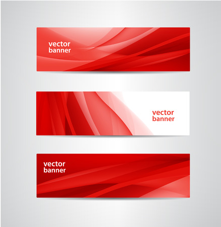 set of vector abstract red silk flow wavy banners