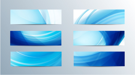 set of vector abstract blue water flow wavy banners