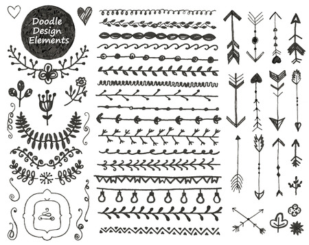 Collection of hand drawn doodle decoration design elements