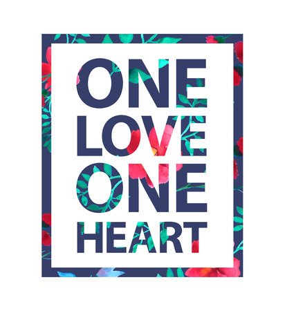 Tropical print love slogan. One love one heart quote for t shirt and other uses