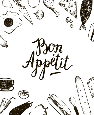 Vector Bon Appetit graphic poster with food illustrations. Black and white.
