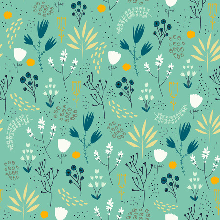 Vector seamless floral pattern. Romantic cute background with hand drawn flowers. Use as fabric, wrapping paper, decor, background of invitations, cards, etc.