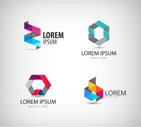 Vector set of abstract colorful ribbon, origami, paper, 3d ions. Identity for company, web site
