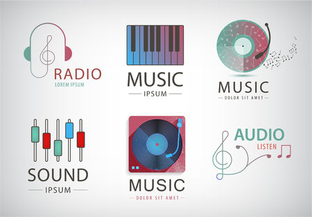 Vector set of music logos, signs isolated