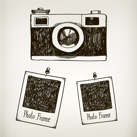 Vector hand drawn illustration with retro vintage camera and photo polaroid frames. Isolated