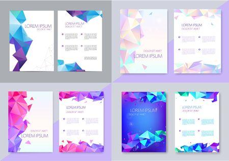 Illustration pour Vector set of brochure design templates, cover design, flyers. Abstract business flyer A4, geometric triangle facet style with 3d - image libre de droit
