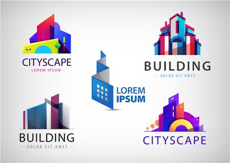Illustration for Vector set of colorful real estate  , city and skyline icons, illustrations. Architect construction - Royalty Free Image