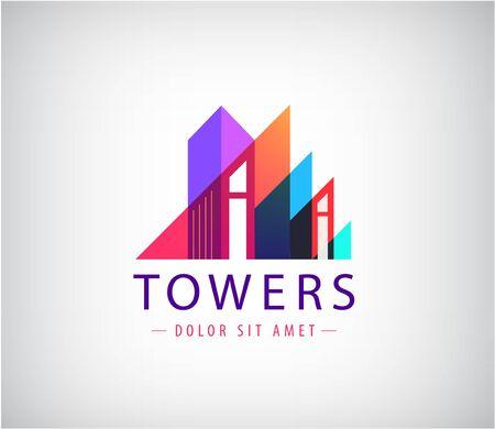 Illustration pour Vector building, towers up geometric logo - image libre de droit