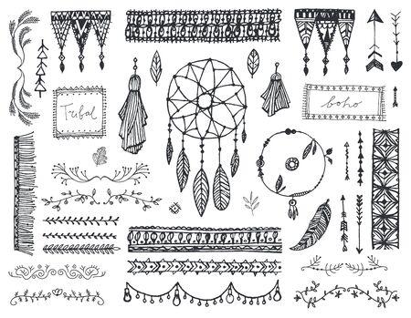 Illustration pour Vector decor set, collection of hand drawn doodle boho style - image libre de droit