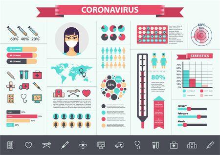Illustration for Vector medical, coronavirus, virus infographics set. CoV icons, elements charts banners - Royalty Free Image