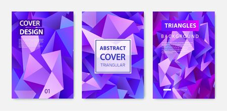 Illustration pour Vector covers templates set with graphic geometric elements, facet abstract posters, brochures, banners. - image libre de droit