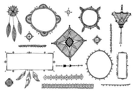 Illustration for Vector boho decor set, collection of hand drawn doodle borders, dividers, design elements, arrows. Isolated. May be used for wedding invitations, birthday cards, banners - Royalty Free Image