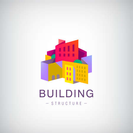 Illustration for Vector origami building structure, city scape construction, colorful 3d logo, icon. Real estate, houses - Royalty Free Image