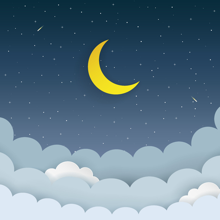 Ilustración de Half moon, stars, clouds, comet on the dark night starry sky background. Galaxy background with moon and shooting stars. Paper and craft style. Night scene minimal background - Imagen libre de derechos