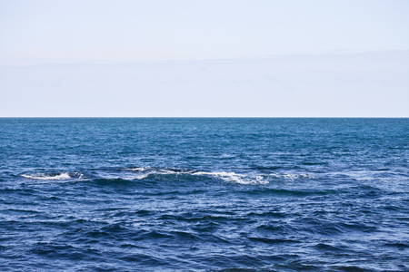 Photo pour Waving water surface of the Adriatic sea and sky background. - image libre de droit