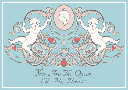Happy Valentines day card in vintage rich royal style. Vector illustration.