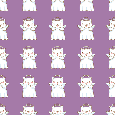 Seamless pattern background with cartoon cats pictured as a little angels with wings and halo in japanese style on purple background. Vector illustration.