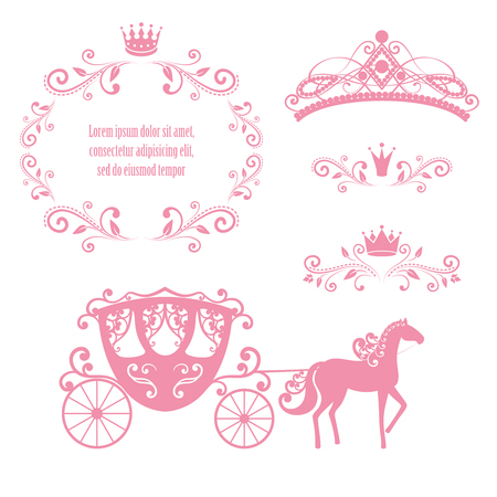 Illustration pour Design elements, vintage royalty frame with crown, ornamental style diadem, carriage in pink color. Vector illustration. Isolated on white background. Can use for birthday card, wedding invitations. - image libre de droit