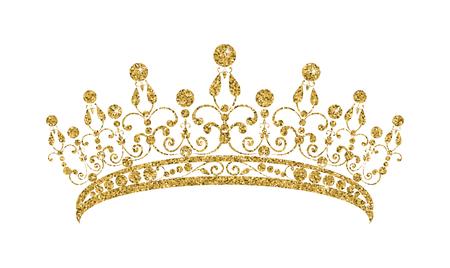 Illustration pour Glittering Diadem. Golden tiara isolated on white background. Vector illustration - image libre de droit