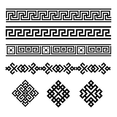 Illustration pour A set of black and white geometric designs. Signs and borders. Vector illustration. - image libre de droit