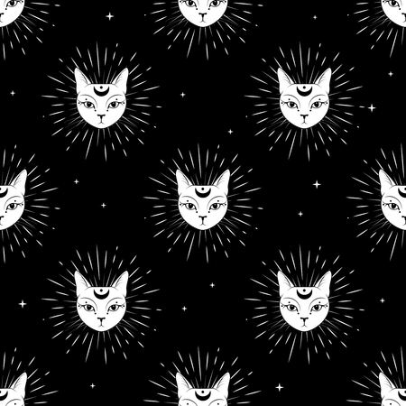 Illustration pour Cat face with moon on night sky seamless pattern background. Cute magic, occult design. Vector illustration. - image libre de droit