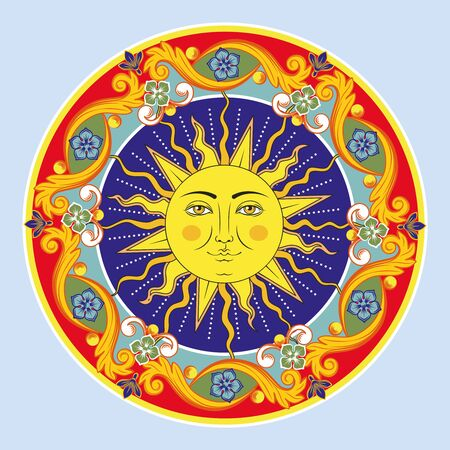 Ilustración de Colorful ethnic round ornamental mandala. Sun with human face. Oriental arabesque pattern background. Vector illustration. - Imagen libre de derechos