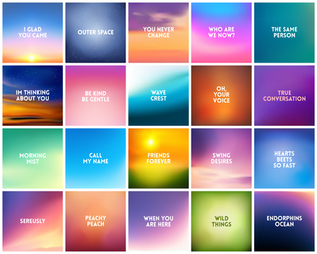 Illustration for BIG set N3 of 20 square blurred nature backgrounds. With various love quotes relationship man woman. Sunset and sunrise sea blurred background - Royalty Free Image
