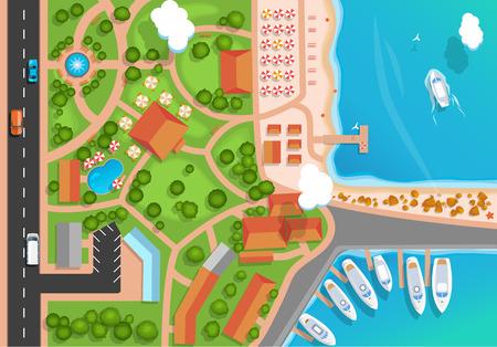 Ilustración de Top view of the resort town, park, road, cars, sea marina and moored yachts. Flat style Vector illustration. - Imagen libre de derechos