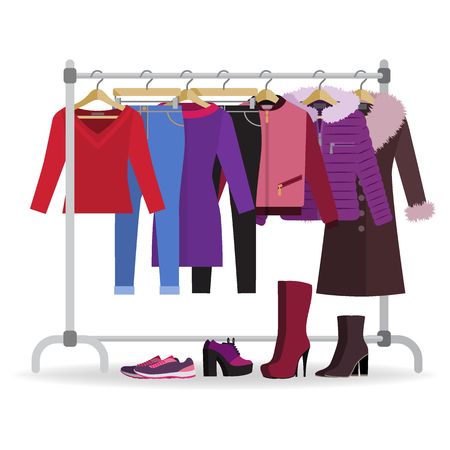 Illustration for Clothes hanger with different casual woman clothes, footwear. Wardrobe with jeans, jackets, coat, dress. Autumn, winter, seasonal clothes. Vector illustration in flat style. - Royalty Free Image