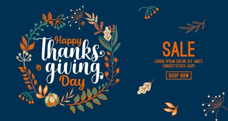 Illustration pour Hand drawn Happy Thanksgiving typography in autumn wreath banner. Celebration text with berries and leaves for postcard, icon or badge. Vector calligraphy lettering holiday quote - image libre de droit