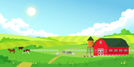 Illustration pour Colorful farm summer landscape, blue clear sky with sun, red barn, herd of cows, agriculture, flat style vector illustration - image libre de droit