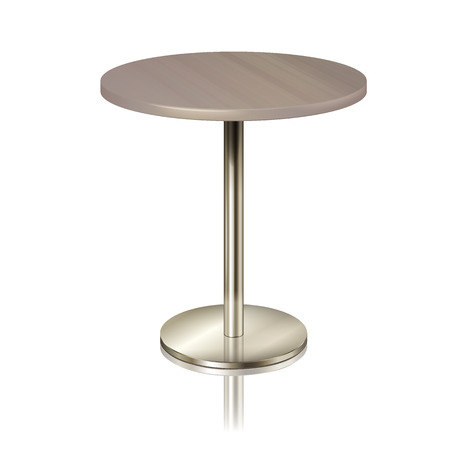 Illustration pour Round table on a chrome metal stand, without a tablecloth. Furniture for a restaurant, cafe, diner and exhibition isolated. furniture for public place interior, vector illustration - image libre de droit