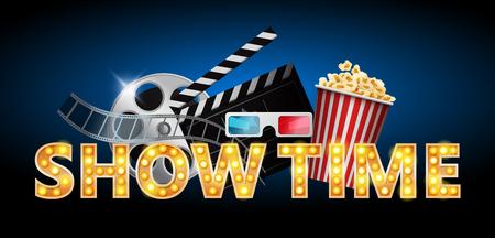 Illustration pour Cinema concept, showtime banner, poster design with popcorn, 3d glasses, film tape, clapperboard, vector illustration - image libre de droit