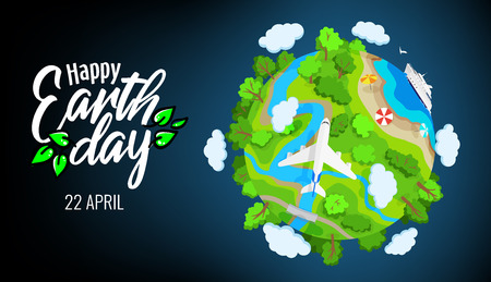 Illustration for Earth Day 22 april banner, planet globe with trees, rivers and clouds, plane and ship in sea, environment elements, landscape, ecology, vector illustration - Royalty Free Image