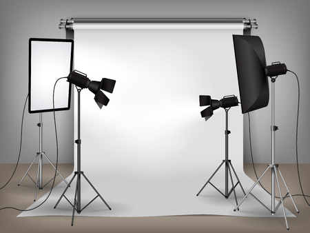 Illustration pour Realistic photo studio with lighting, softboxes on tripod stands and spotlights equipment and white backdrop, photo background mock up vector illustration - image libre de droit