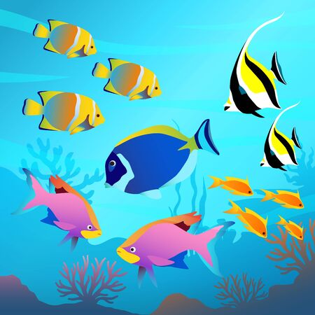 Illustration pour Beautiful underwater world, seascape, fish and sea bottom, seaweed, plants, corals vector illustration - image libre de droit