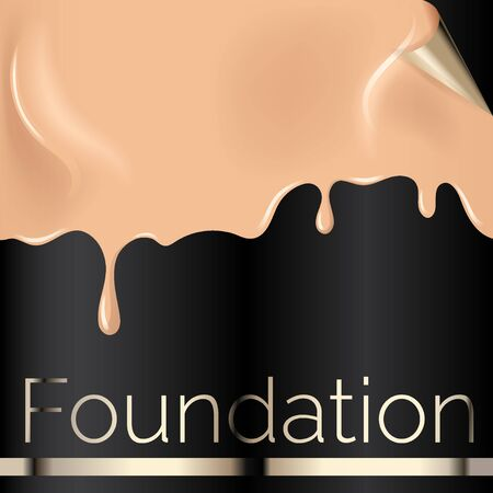 Illustration pour Foundation liquid texture, creamy skin tone foundation vector illustration close up look on black background. - image libre de droit