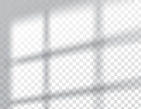 Illustration pour Shadows, overlay effects mock up, window frame natural interior light, vector illustration - image libre de droit