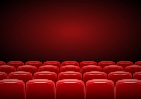 Illustration for Cinema hall mock up with red seats, showtime, poster design, vector illustration - Royalty Free Image
