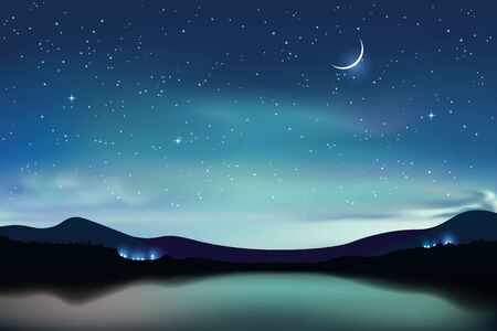 Illustration pour Mountain lake with dark turquoise starry sky and a crescent moon, night sky realistic background, vector illustration - image libre de droit