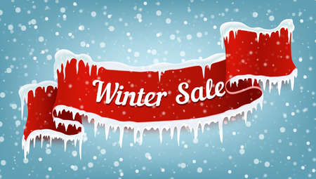 Illustration pour Winter sale banner with red realistic ribbon, icicles and falling snow. Vector illustration. - image libre de droit