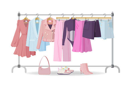 Illustration for Clothes hanger with casual woman clothes, footwear - Royalty Free Image