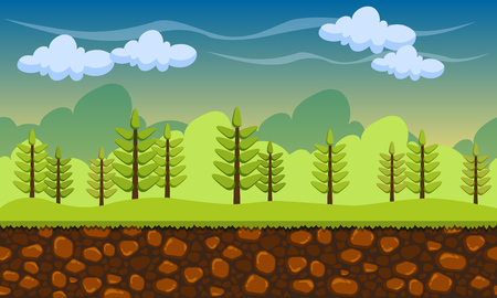 Illustration for Seamless cartoon nature landscape, unending background with soil, trees and cloudy sky layers. Game vector background - Royalty Free Image