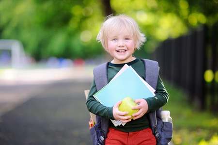 Cute little schoolboy outdoors on sunny autumn day. Young student with his backpack and apple. Education for small kids. Back to school concept.
