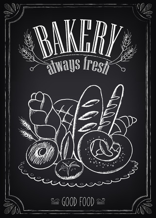 Vektor für Vintage Bakery Poster. Freehand drawing on the chalkboard: bread and other pastries - Lizenzfreies Bild
